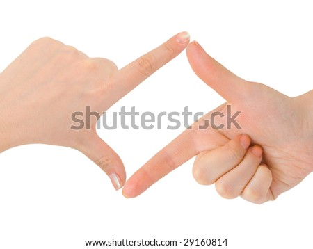 Frame made of hands isolated on white background - stock photo