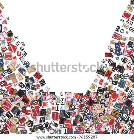 frame, made of newspaper letters, isolated on white - stock photo