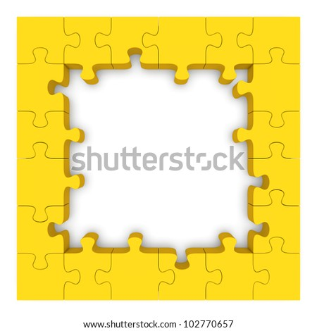 Frame made up of pieces of yellow jigsaw puzzle. 3d rendered image - stock photo