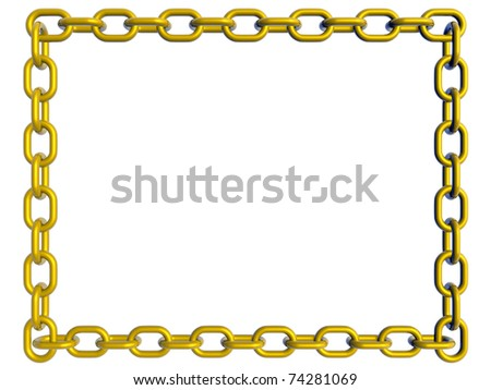 Frame made with golden chain links. 3d render - stock photo