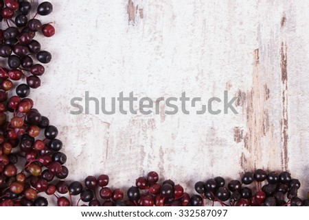 Frame of autumn fresh elderberry and copy space for text on old rustic wooden background, healthy nutrition, alternative medicine and therapy - stock photo
