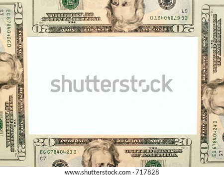 frame of $20 bills - stock photo