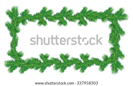 Frame of Christmas fir tree branches in rectangular shape isolated on white background. Merry Christmas and Happy New Year holiday design. Raster version - stock photo
