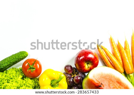 Frame of fresh fruits and vegetables on white background - stock photo