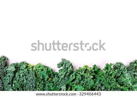 Frame of fresh green salad leaves on white  - stock photo