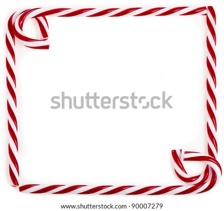 frame of lollipop cane isolated on white - stock photo