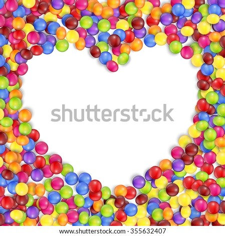 Frame of love colored candies - stock photo