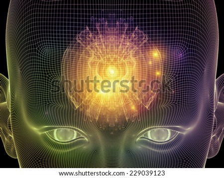 Frame of Mind series. Abstract arrangement of human face wire-frame and fractal elements suitable as background for projects on mind, reason, thought, mental powers and mystic consciousness - stock photo