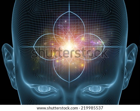 Frame of Mind series. Arrangement of human face wire-frame and fractal elements on the subject of brain, mind, reason, intuition, inner energy and mystic consciousness - stock photo