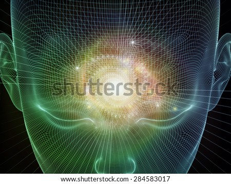 Frame of Mind series. Arrangement of human face wire-frame and fractal elements on the subject of mind, reason, thought, mental powers and mystic consciousness - stock photo
