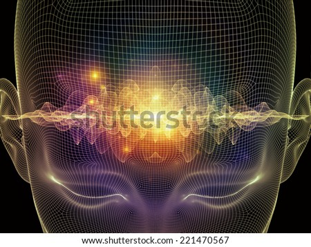 Frame of Mind series. Background composition of  human face wire-frame and fractal elements to complement your layouts on the subject of mind, reason, thought, mental powers and mystic consciousness - stock photo