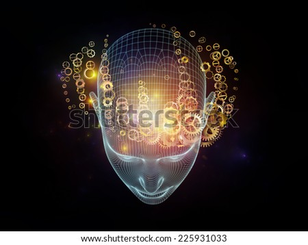 Frame of Mind series. Creative arrangement of human face wire-frame and fractal elements as a concept metaphor on subject of mind, reason, thought, mental powers and mystic consciousness - stock photo