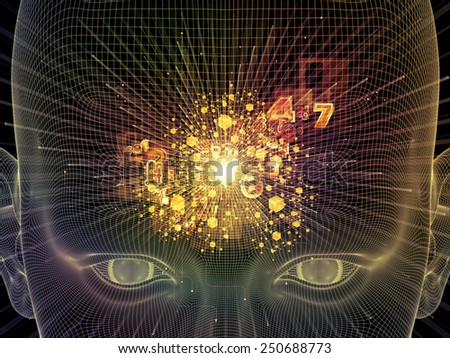 Frame of Mind series. Graphic composition of human face wire-frame and fractal elements to serve as complimentary design for subject of mind, reason, thought, mental powers and mystic consciousness - stock photo