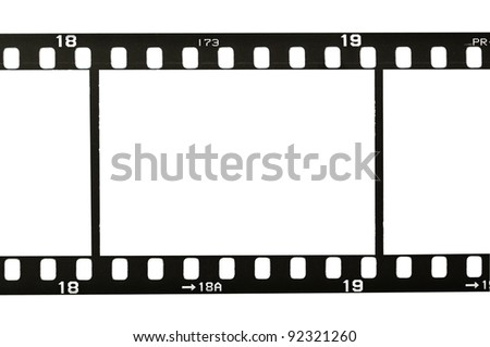 frame of 35 mm film strip, isolated on white - stock photo