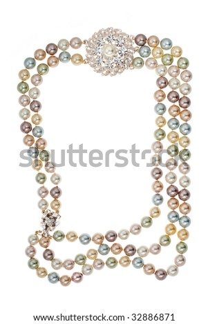 Frame of necklace with a brooch on white background - stock photo