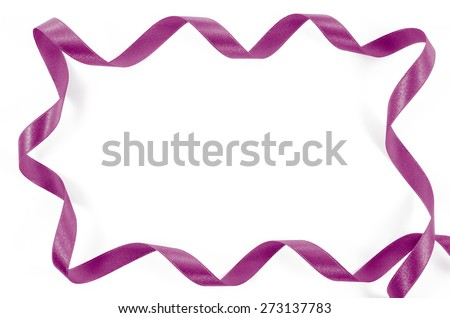 Frame of pink ribbon on white background  - stock photo