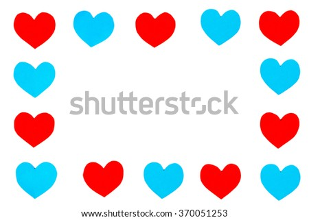 Frame of red and blue paper hearts with white isolated copy space - stock photo