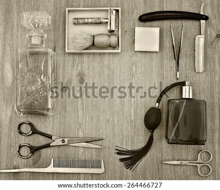 Frame of retro shaving accessories. toning - stock photo
