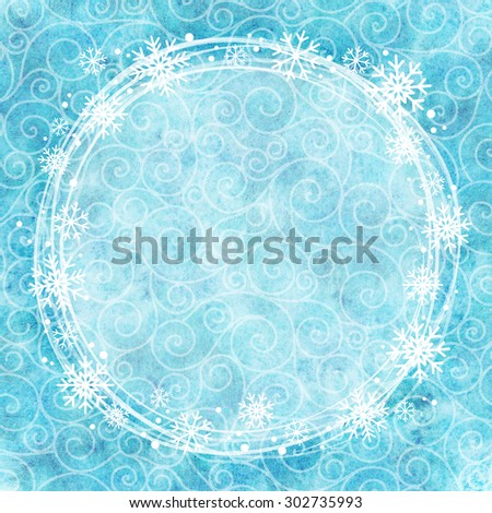 Frame of snowflakes on a watercolor background. - stock photo