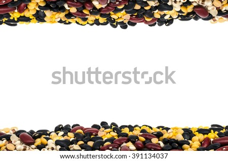 frame of split soy beans,mung beans,red kidney bean,black bean and Job's tears isolated on white - stock photo