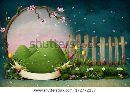 Frame of spring flowers. - stock photo