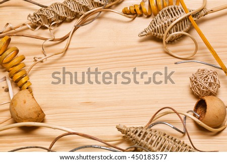frame of the decorative items on wooden background. decor items from natural materials - stock photo
