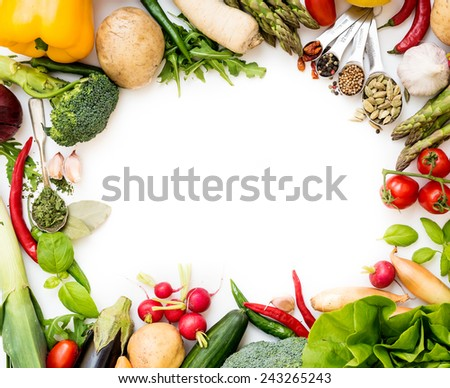 Frame of vegetables on a white background - stock photo