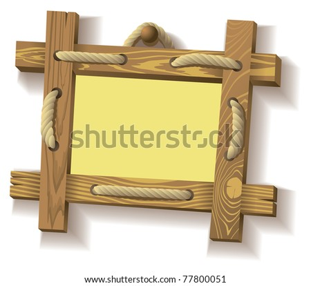 Frame of wooden boards hanging on crude rope, raster from vector illustration - stock photo