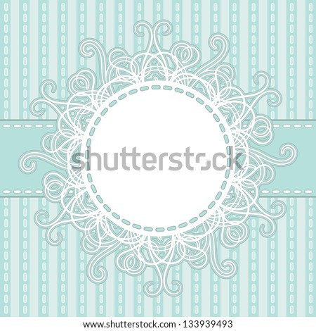Frame on a light blue striped background. Raster copy of vector image - stock photo
