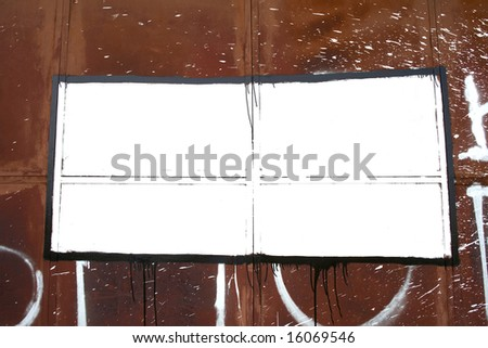 frame on the wall in the style of graffiti - stock photo