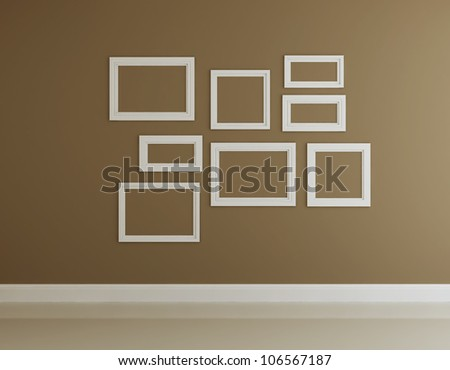 Frame on the wall of interior decorated - stock photo