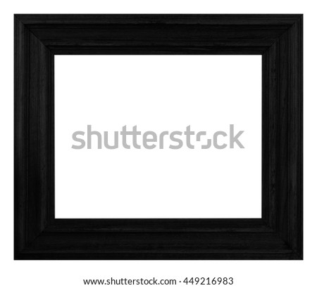 frame picture black wood frame carved pattern isolated on a white background  - stock photo