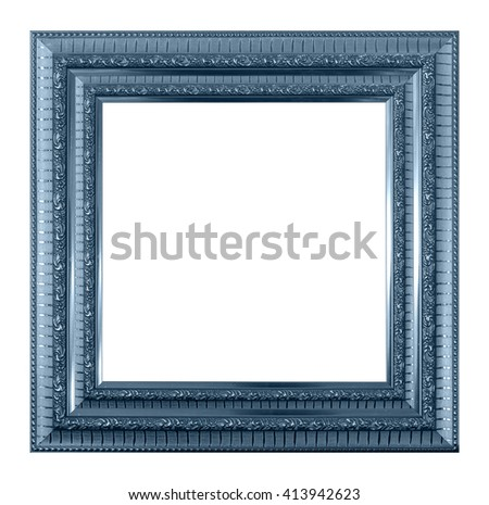 frame picture frame wooden Carved pattern isolated on a white background. - stock photo