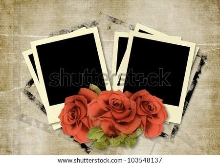 frame Polaroid  on vintage background - stock photo