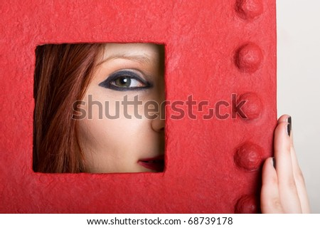 Frame portrait of red hair girl. - stock photo