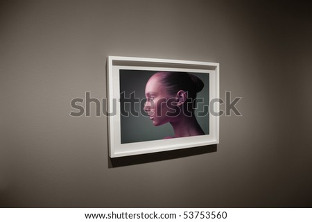 Frame showing a beautiful woman's profile - stock photo