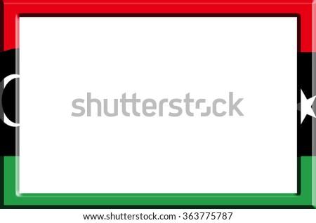 Frame striped Libya flag - stock photo