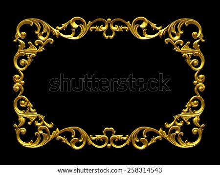 frame with baroque ornaments in gold  - stock photo