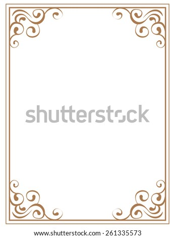 frame with brown patterns on a white background - stock photo