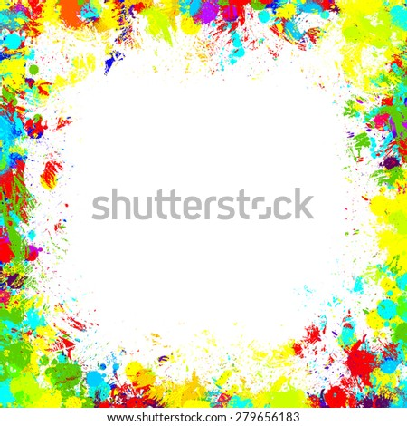 Frame With Color Blobs, Isolated On White Background - stock photo