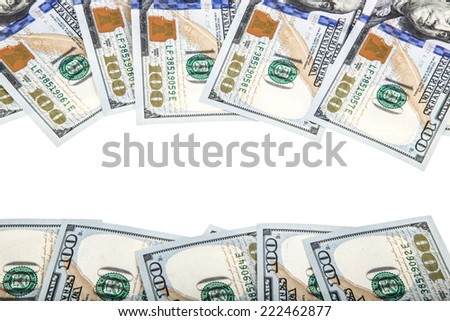 frame with dollars - stock photo