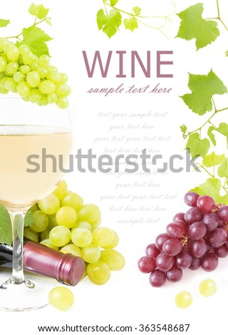 Frame with green and red grapes branches, wine glass, vine and wine bottle isolated on white background with sample text - stock photo
