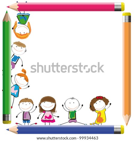Frame with happy kids and colorful crayons - stock photo