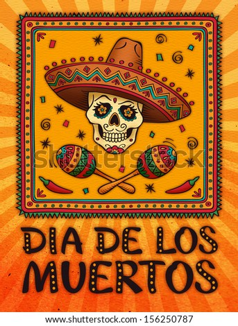 Frame with mexican skull in sombrero. Raster version. day of the dead - stock photo
