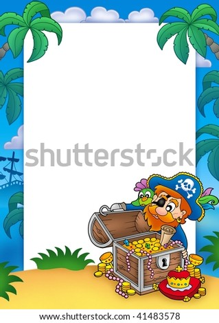 Frame with pirate and treasure - color illustration. - stock photo