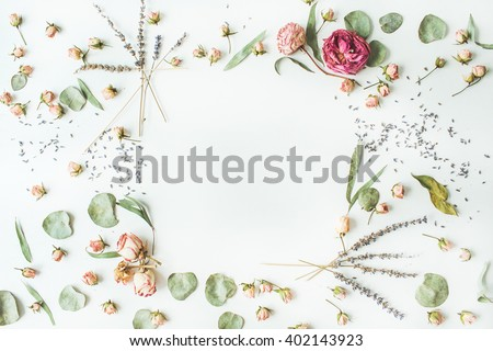 frame with roses, lavender, branches, leaves and petals isolated on white background. flat lay, overhead view - stock photo
