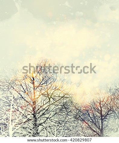 frame with spring bare trees with sky and clouds. Digital and watercolor - mixed media. In middle of layout place for your text. Background for quotes. - stock photo