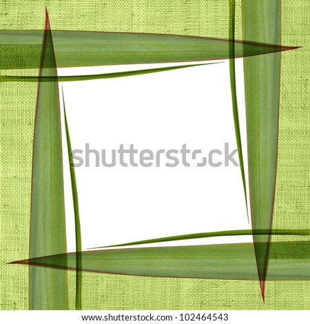 Frame with straw and green leaves - stock photo