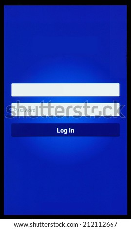 Framed screen of mobile telephone with internet log in page. - stock photo