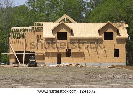 framed unfinished house - stock photo